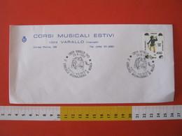 A.12 ITALIA ANNULLO 1986 VARALLO VERCELLI CONCORSO MUSICA VIOTTI VALSESIA ANGELI MUSICANTI ARPA TAMBURO MUSIC BUSTA CORS - Cristianesimo