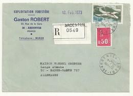 LETTRE RECOMMANDEE CACHET MANUEL ARDENTES 02/02/1973  POUR L' ALLEMAGNE  SUPERBE - 1960-.... Lettres & Documents