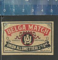 BELGA MATCH OLD MATCHBOX LABEL BELGIUM UNION ALLUMETTIÈRE BRUXELLES - Boites D'allumettes - Etiquettes