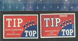 TIP TOP OLD MATCHBOX LABELS BELGIUM UNION ALLUMETTIÈRE BRUXELLES & UNION MATCH LONDON - Boites D'allumettes - Etiquettes