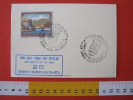 A.12 ITALIA ANNULLO 1987 VEGLIO VERCELLI VALLE MOSSO BIELLA 25 ANNI COMUNITA' MONTANA STEMMA ARALDICO CARTONCINO INVITO - Geografia