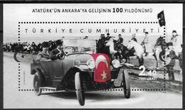 TURKEY, 2019, MNH, CENTENARY OF KEMAL ATATURK ARRIVAL IN ANKARA, CARS, HORSES, S/SHEET - Famous People