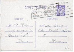 Carte 1f20 Iris Du Camp Marguerite à Rennes - Cachet 'Camp Départemental Des Internés Administratifs' - 1944 - Biglietto Postale