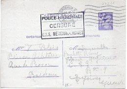 Carte 1f20 Iris - Prison Militaire De Bordeaux - Cachet 'Police Nationale / Censure / C.S.S. Mérignac Eysines' - 1945 - Biglietto Postale