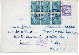 Carte 1f20 Iris De 1944 Pour L'Angleterre Avec 50c Mercure X6 En Complément - Censure - Biglietto Postale