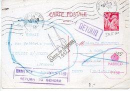 Carte 2f40 Iris De 1945 Pour L'Angleterre Avec Cachet De Retour à L'envoyeur - Censure - Biglietto Postale