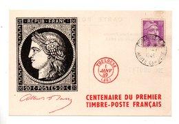 """CARTE MAXIMUM . """" Centenaire Du Premier Timbre-Poste Français """" . TOULOUSE 01 JANVIER 1949 - Réf. N°828T - - 1940-49"""