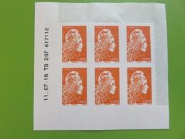 Timbre France - Coin Daté De 6 Timbres - Marianne L'engagée - Autocollant - 1 € Orange - Neuf - 2018 - YT N° 1600 - Coins Datés