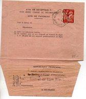 Iris - 1945 - Avis De Réception D'un Mandat - Bâtiment De Ligne Richelieu - CaD 'Poste Navale Bureau N° 58' - Correo Naval