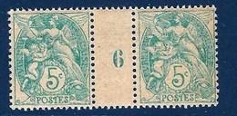 """FR Millesime YT 111 """" Blanc 5 C. Vert-bleu """" Neuf** 1906 - Millésimes"""