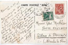 Iris - 1944 - Carte En Poste Restante - Taxe 50c Gerbes Seul - Lettere Tassate