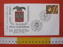 A.12 ITALIA ANNULLO 1990 OMEGNA VERBANIA NOVARA UNIONE CIRCOLI PROVINCIA NOVARA STEMMA ARALDICA 1^ MOSTRA PHIL - Francobolli