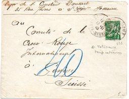 1F Iris (n° 432) Seul Sur Lettre Du 13.11.40 Pour La Croix-Rouge à Genève (Suisse) - Censure Au Verso - 1921-1960: Modern Period