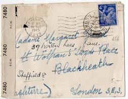 4F Iris (n° 656) Seul Sur Lettre Avec Censure De Mars 1945 Pour L'Angleterre - 1921-1960: Modern Period