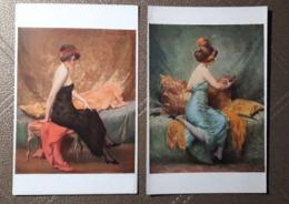 2 Cartes  A. PENOT - LA FEMME A LA DRAPERIE BLEUE & NOIRE - Peintures & Tableaux