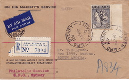 20439# AUSTRALIE LETTRE RECOMMANDE Obl G.P.O. SYDNEY NSW AUSTRALIA 1949 Pour DURBAN AFRIQUE DU SUD SOUTH AFRICA - Marcofilia