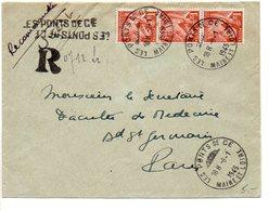 Iris - Lettre Recommandée Provisoire De Les Ponts De Cé (Maine Et Loire) De 1945 - Postmark Collection (Covers)