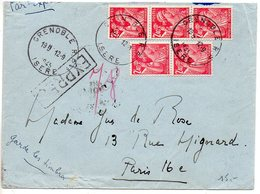Iris 2f40 X5 Sur Lettre Par Exprès De Grenoble Du 12.9.1945 - Enveloppe Légèrement Retaillée Dans Le Haut - 1921-1960: Periodo Moderno