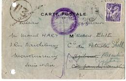 Iris 1f20 Sur Carte Du 15.10.1944 Pour Djibouti -  Texte Au Verso 'je Profite Du Rétablissement Des Liaisons Postales... - Storia Postale