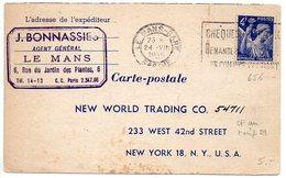 Iris 4f Sur Carte Du 24 VIII 1945 Pour Les Etats-Unis Affranchie Au Tarif Lettres - Marcophilie (Lettres)