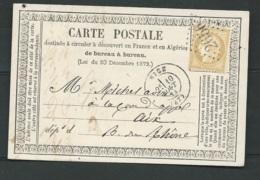Carte Postale Précurseur Affr. Par Yvert N° 59 Obl. Gc 2656 Nice En Aout 1872  LL17808 - 1871-1875 Ceres
