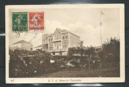"""Timbre De Syrie ( Protectorat Fr ) Yvert N°57,58 Sur Cpa Non Voyagée """"US Of América Consulate , 1922   LL17810 - Siria (1919-1945)"""