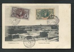 Haut Sénégal Et Niger , Yvt N° 1 ET 4 Obli. Tombouctou En Nov 1910  Sur Cpa Tombouctou - Panorama ( S-O )    LL17812 - Haut-Senegal-Niger (1904-1921)