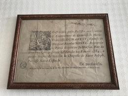 Faire Part De Décès 1784 De Françoise DUMAREST épouse De Nicolas MINEL, Bourgeois De Paris - Décès