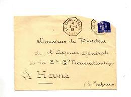 Lettre Pour Le Cachet  Le Havre à Colon - Marcophilie (Lettres)