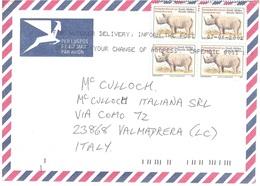 LETTERA X ITALY BY AIR MAIL BLACK RINOCEROS - Rinoceronti