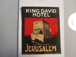 HOTEL MOTEL PENSION KING DAVID JERUSALEM PALESTINE ISRAEL TAG STICKER DECAL LUGGAGE LABEL ETIQUETTE AUFKLEBER - Hotel Labels