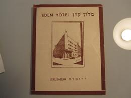 HOTEL MOTEL PENSION EDEN JERUSALEM PALESTINE ISRAEL TAG STICKER DECAL LUGGAGE LABEL ETIQUETTE AUFKLEBER - Hotel Labels