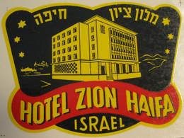 HOTEL MOTEL PENSION ZION HAIFA PALESTINE ISRAEL TAG STICKER DECAL LUGGAGE LABEL ETIQUETTE AUFKLEBER - Hotel Labels
