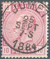 N°38 - 10 Centimes Rose, Obl. Sc JUMET 25 Sept.  1884 - 15150 - 1883 Léopold II