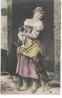 """L170A700 - Jeune Femme Avec Ses Chats Et Son Chien """"Chacun Son Plaisir"""" - PMM N°XIII - Carte Précurseur - Femmes"""