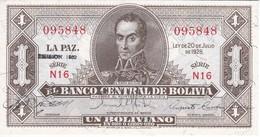 BILLETE DE BOLIVIA DE 1 BOLIVIANO DEL AÑO 1928  SERIE N16 (BANKNOTE) EMISION 1952 - Bolivia
