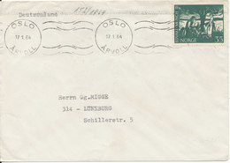 Norway Cover Sent To Germany Oslo 17-1-1964 Single Franked - Brieven En Documenten