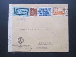 1941 Zensurpost Finnischer Stempel Tarkastettu Granskat + OKW Zensur Umschlag Hortus Wiedereroberung Viipuri - Cartas