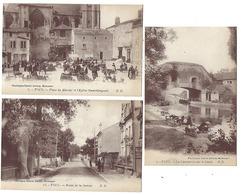 54 - TOUL - Lot De 3 CPA Animées - Lavandières, Marché, Route De La Justice - Toul