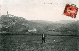 Carte Postale Ancienne Ariège Montardit Vue Générale Avec Personnage En Premier Plan Debut XXe - Autres Communes