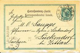 Czechoslovakia Carte Postale Sent To Germany Prag 16-1-1904 - Postal Stationery