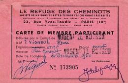 NOGENT LE ROTROU CARTE DE MEMBRE LE REFUGE DES CHEMINOTS AVEC VIGNETTES DE 1960 A 1977 - Transports