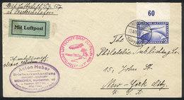 GERMANY: 22/AP/1929 Friedrichshafen - New York: Cover Flown By Zeppelin On The Mittelmeerfahrt, With Sevilla Transit Bac - Germania