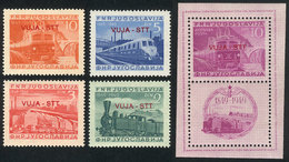 YUGOSLAVIA - TRIESTE B: Sc.17/20 + C17, 1950 Trains, Cmpl. Set Of 4 MNH Values + Souvenir Sheet (very Lightly Hinged), V - 1945-1992 République Fédérative Populaire De Yougoslavie