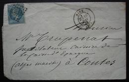 Caisse D'épargne De Nice 1870 Cachet à L'arrière Et En Tête Pour La Caisse D'épargne De Contes - 1849-1876: Période Classique
