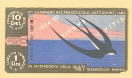 """""""IV CAMPAGNA NAZIONALE FRANCOBOLLO ANTITUBERCOLARE""""1934 -LIBRETTO COMPLETO, - Malattie"""