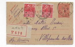 1931 - CREUSE - CARTE-LETTRE ENTIER SEMEUSE RECOMMANDEE ! De AHUN => VILLEFRANCHE SUR MER - Marcophilie (Lettres)