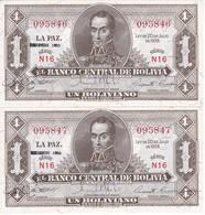 PAREJA CORRELATIVA DE BOLIVIA DE 1 BOLIVIANO DEL AÑO 1928  SERIE N16 (BANKNOTE) EMISION 1952 - Bolivia