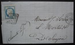 Sillé Le Guillaume 1875 (Sarthe) Lettre Pour Le Mortier, Par Saujon, Losange De Points (ferroviaire ?) - 1849-1876: Periodo Classico
