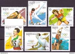 Kampuchea 1989 Oblitéré - Jeux Olympiques - Michel Nr. 1040-1045 (cam343) - Kampuchea